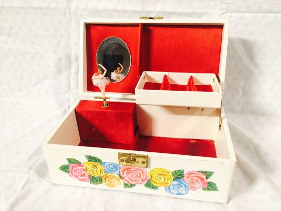 Vintage Ballerina Music Jewelry Box with red by VintageToyCorner