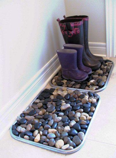 boot tray with beach rocks - SOO doing this!