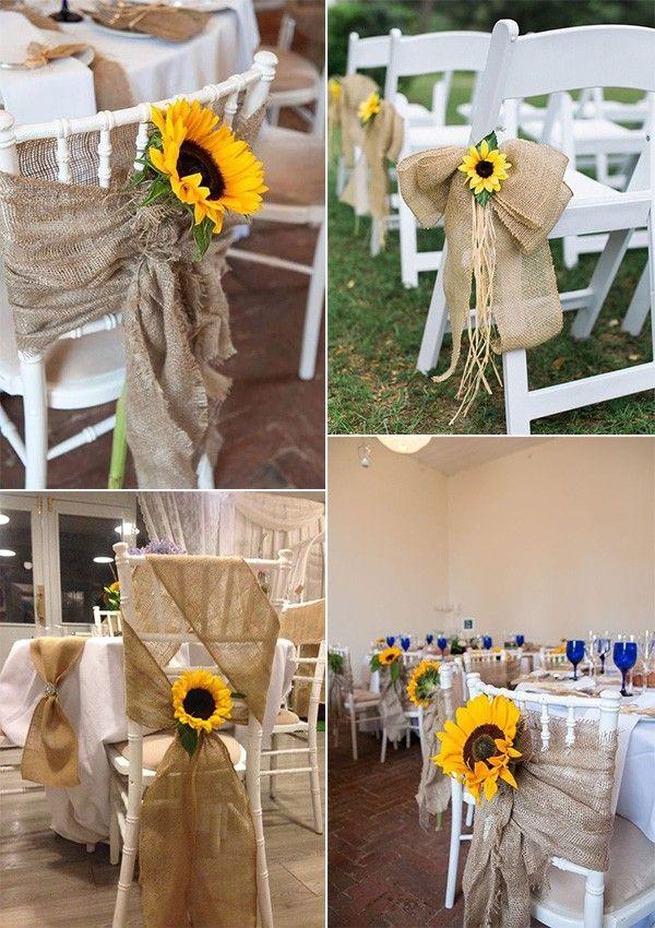 Wedding Chair Decoration Ideas With Sunflowers Wedding Chair Decorations Sunflower Wedding Centerpieces Sunflower Themed Wedding