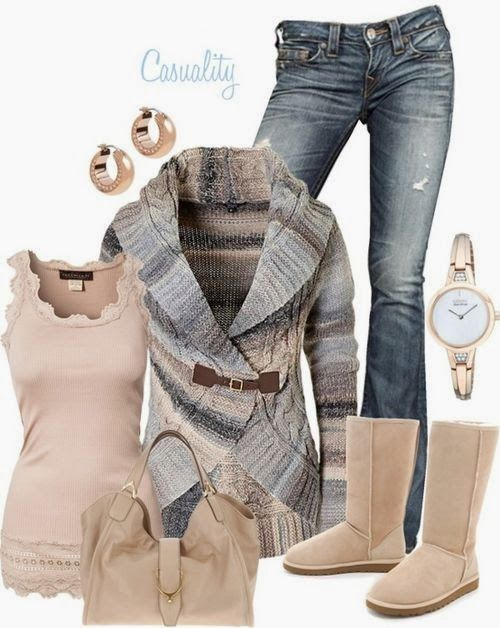 Funky Fall Outfit With Colorful Cardigan,Handbag and Long Boots
