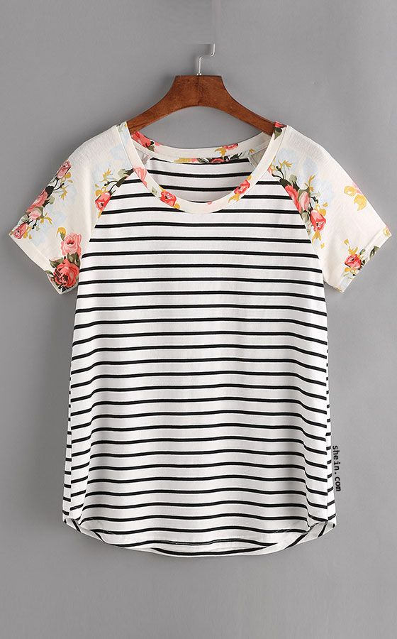 Floral Raglan Sleeve Striped Tee