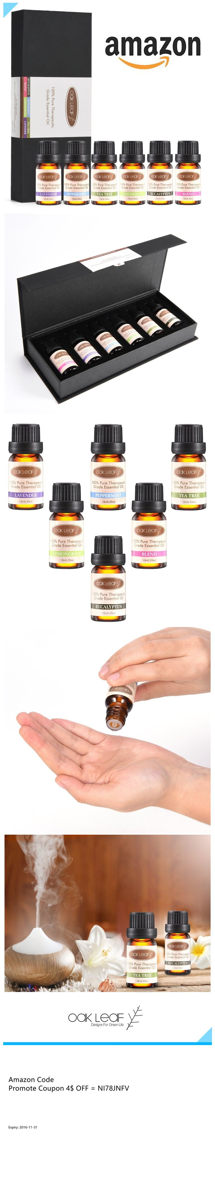 $5.99 Set of 6 Essential Oils, Oak Leaf 100% Pure Therapeutic Grade Aromatherapy Scented Oil ▶▶ Thanks for this Amazon Code: NI78JNFV Just Save me 4$ off ! Get it Now !!!