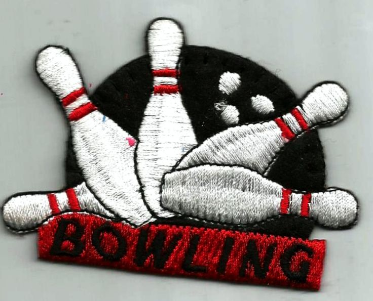 Bowling and Pins White Black Red Iron on Patch Applique black