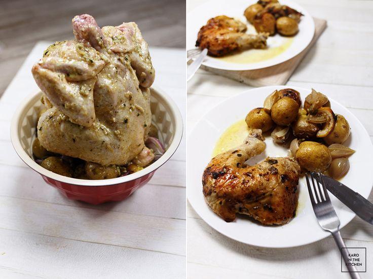 Kurczak na kominie - pieczony w formie do babki. Kurczak z cytryna i rozmarynem, pieczony z ziemniakami i szalotką. Obiad z piekarnika.