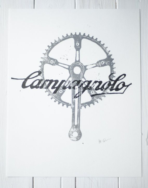 These hand cut and pressed Linocut prints were created using printing ink on Fabriano Watercolour paper. The print depicts the Campagnolo Pista