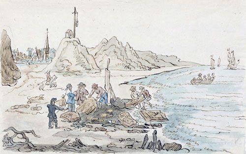 """Het vinden van de Nehalennia stenen op het strand van Domburg in 1647. Kopie van de """"origineele teekening van Hend. van Schuylenburgh"""" door A.C. Bonn, med. cand., 1805. (ZA/KZGW ZI-III-0137)"""