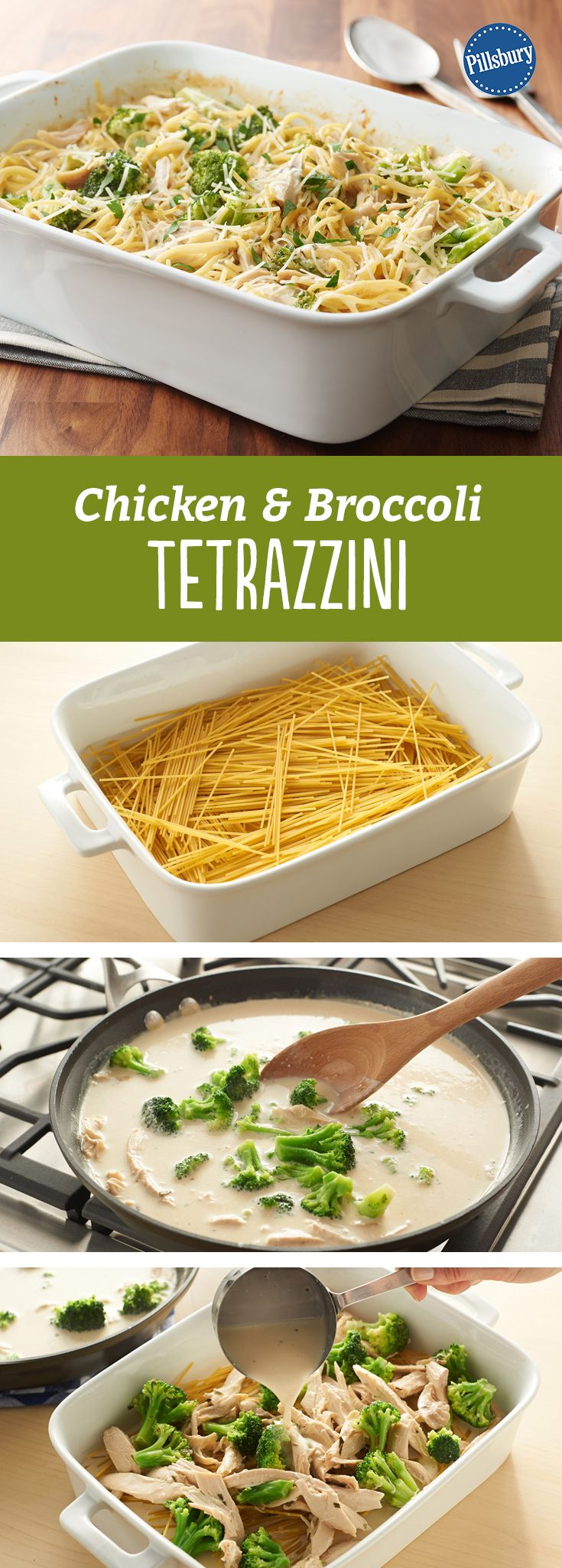 Chicken and Broccoli Tetrazzini: Enjoy this hearty 5-ingredient chicken, broccoli and spaghetti bake. Sure to become a family favorite.