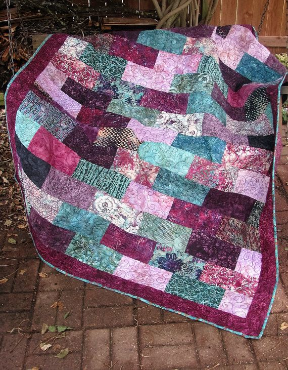 Quilt - Lap Quilt, Sofa Quilt, Quilted Throw - Hummingbird Batik Lap Quilt