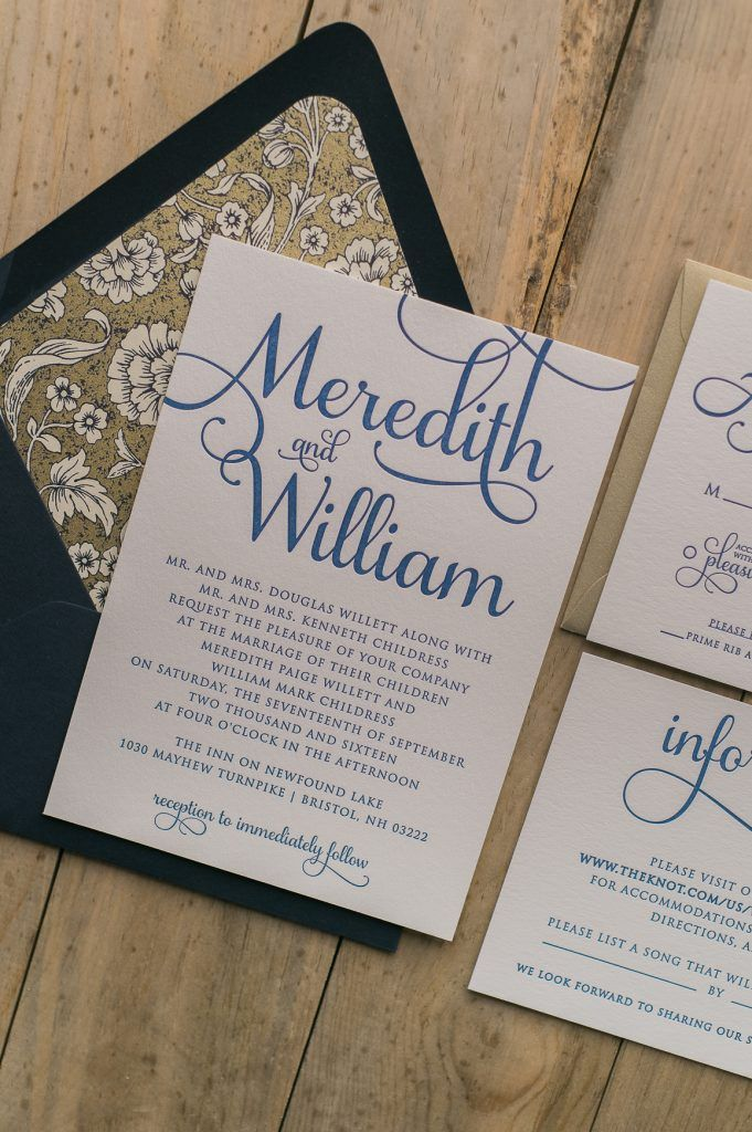 how to get directions for wedding invitations%0A Wedding Invitations  Navy Letterpress  Twine and Floral Details  Navy and  Gold Wedding Invitations