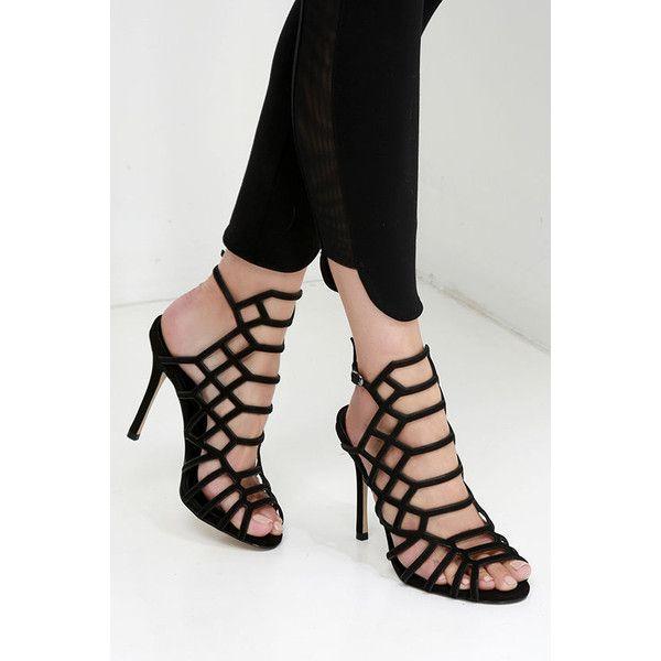Steve Madden Slithur Black Nubuck Leather Caged Heels ($109) ❤ liked on  Polyvore featuring