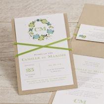 Ecokaart met groene bloemen en lint #trouwkaart #huwelijk #wedding #eco #bloemen #lint #groen