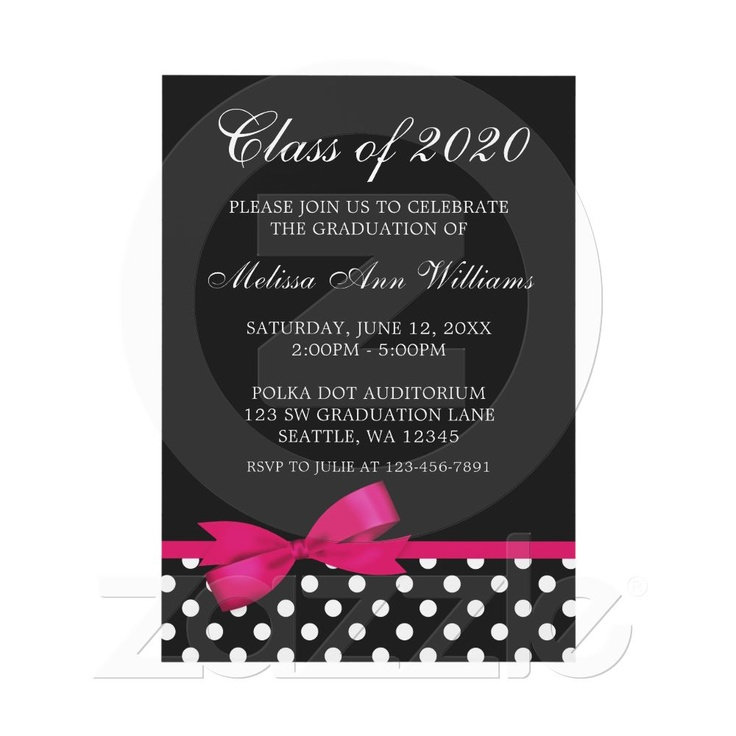 Pink Bow Polka Dots Graduation Announcement by printcreekstudio for $17.00 http://www.zazzle.com/pink_bow_polka_dots_graduation_announcement_invitation-161439657928517733