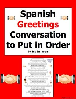 Spanish Greetings Conversation To Put in Order by Sue Summers - 3-person, 18 line greetings dialogue/skit.