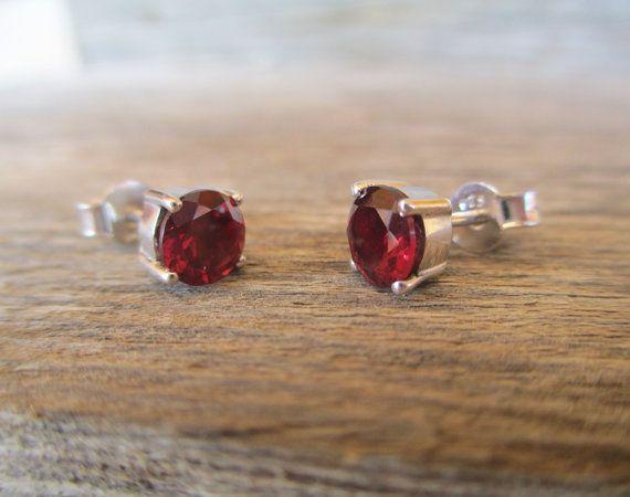 Red garnet earrings in sterling silver 6 mm red stud earrings