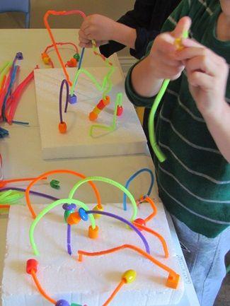 Styrofoam pipe cleaner bead mazes: Fine Motors, Preschool Ideas, Cleaners Beads, Kids Crafts, Fun Ideas, 3D Art, Colors Pipes, Beads Maze, Pipes Cleaners