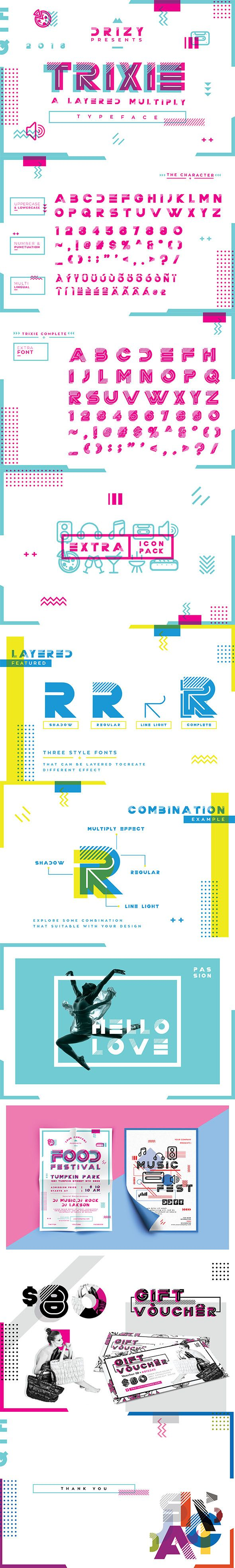 TRIXIE LAYERED MULTIPLY  FONT - Futuristic Decorative