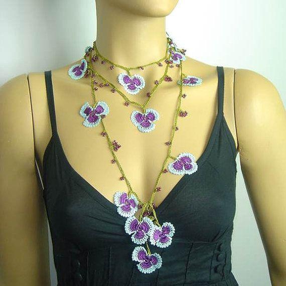 SUMMER SALE 25 Crochet oya lace purple light blue by istanbuloya, $12.00