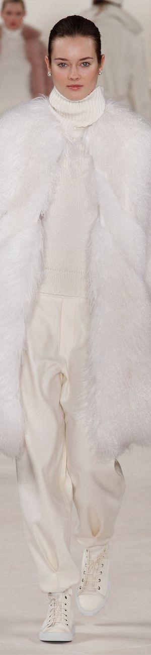 Ralph Lauren ~ White Fur Coat over White Trousers 2014