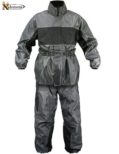 Xelement RN4793 Men's 2 Piece Gray Black Nylon Motorcycle Rain Suit  #Xelement #Motorcycle