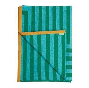 Meta grøn/mint/camel plaid / knitted blanket / 100% wool / made in denmark