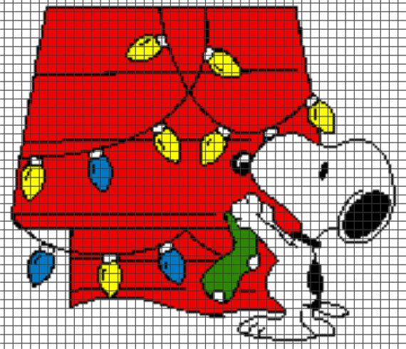 Snoopy Christmas Crochet Graphghan Pattern (Chart/Graph AND Row-by-Row Written Instructions)
