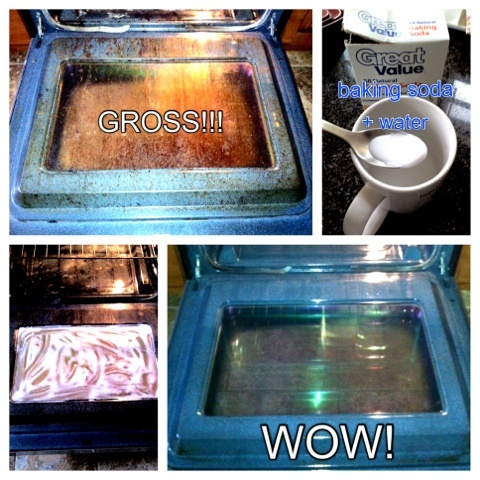cleaning the oven glass