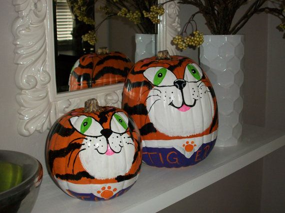 Love theres large Plastic Pumpkin Painted with a Clemson  Mascot, The Tiger. Great Decoration for Fall, Tailgating and Halloween. Can Be Customized... on Etsy, $50.00