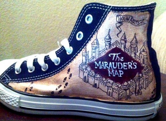 I want these to be my wedding shoes, for sure :) I always said converses and its Harry Potter. Doesnt get better than that! Hand Painted Harry Potter Shoes Marauders by YourSoleExpression, $120.00