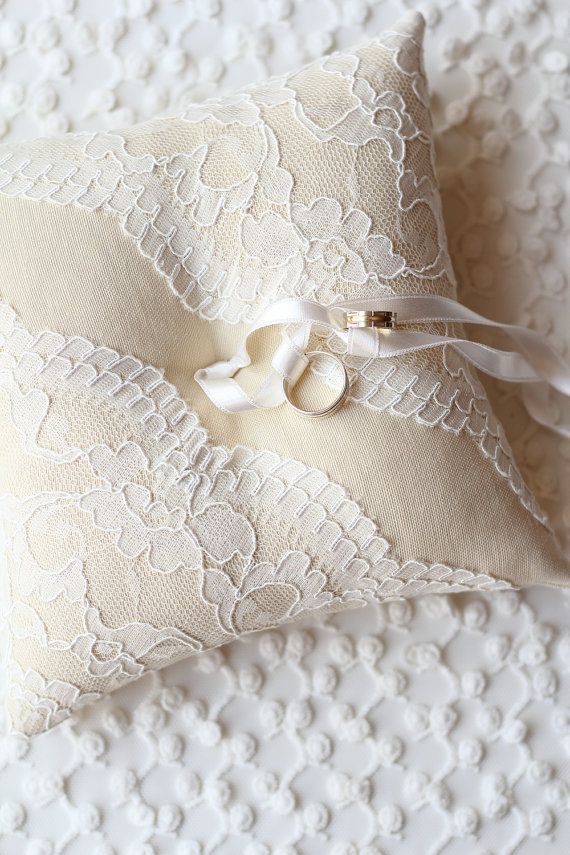 Ring Bearer Pillow, Cushion, Linen Pillow, Guipure Pillow, Wedding Pillow, Ring Pillow