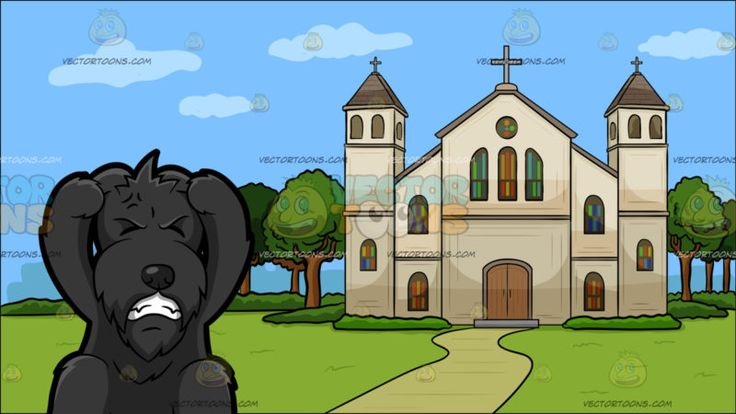 An Irritated Scottish Terrier With A Church Outside The City Background:  A cute bearded dog with a black long fur pinkish standing ears sits on the floor as he shuts his eyes and grits his sharp teeth in frustration front paws raised to scratch his head and Outside view of a cathedral with beige walls gray roofing cross green trees and walkway overlooking the city  #animal #cartoon #clipart #illustration #vector #vectortoons