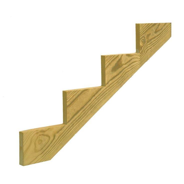 4 Step Pressure Treated Pine Stair Stringer 106070 At The | Pressure Treated Wood Steps