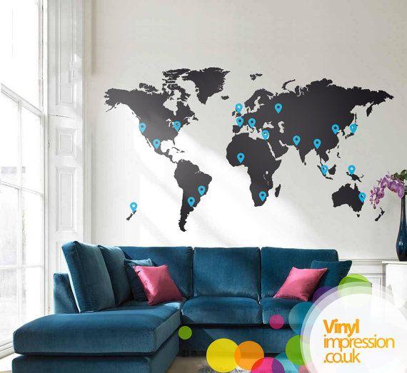 Grande carte du monde murale vinyle autocollant avec marqueur de pays visités