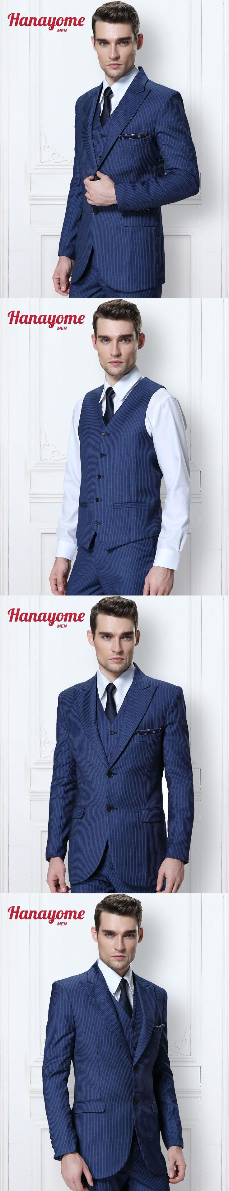 2017 Men Suit Sst Tailcoat Royal Blue Pants Men's 3 Pieces Striped V-Neck Wedding Party Jacket Suit Waistcoat & Pants D317
