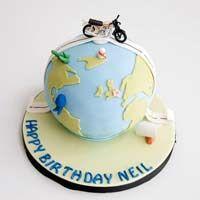Bike In Earth Fondant cake