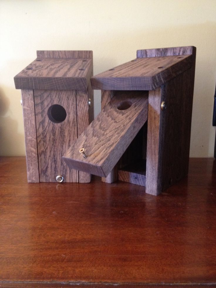 Solid oak bird boxes