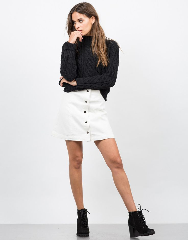 Flared Button Down Skirt - White Denim Skirt - Mini Skirt – Bottoms – 2020AVE