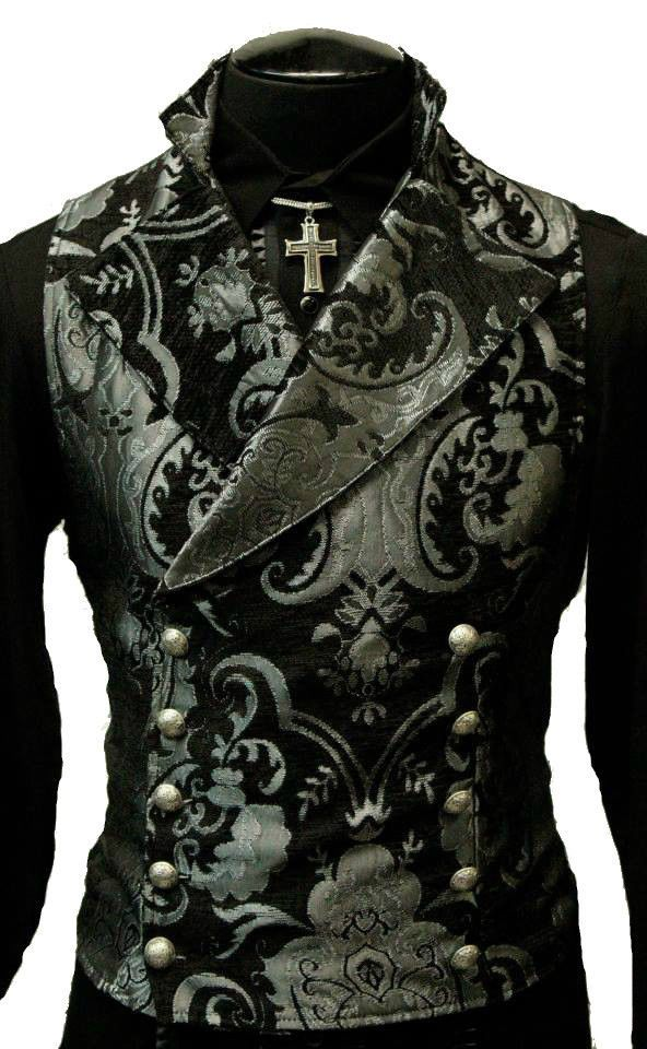 SHRINE GOTHIC VAMPIRE CAVALIER VEST JACKET VICTORIAN TAPESTRY GOTH STEAMPUNK #SHRINE