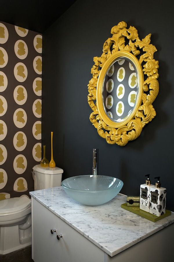 black and yellow bathroom / love the rococo mirror and silhouette wallpaper