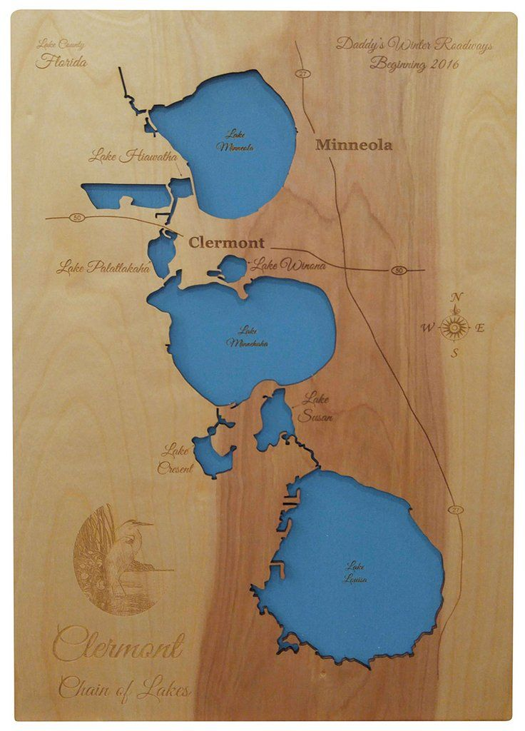 Clermont Chain of Lakes, Florida - Wood Laser Cut Map ... on port charlotte florida map, davenport florida map, jasper florida map, sheridan florida map, inverness florida map, destin florida map, wildwood florida map, florida state map, cocoa florida map, lakeland florida map, lake butler florida map, weston florida map, coral springs florida map, lake county florida map, dover florida map, bartow florida map, sanford florida map, eustis florida map, vero beach florida map, lake mary map,