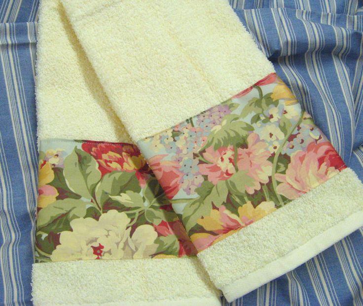 2/ Custom Hand Towels RALPH LAUREN STONE HARBOR  fabric on Cream Hand Towels  #HANDDECORATED