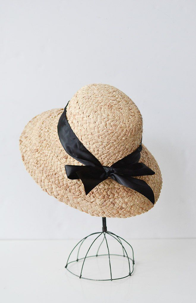 Madeline Straw Hat / Women's Vintage Inspired Straw Hat With Bow