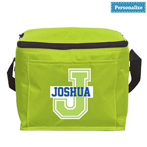 """Product # DC40273 - A perfect sized cooler for school, field trips or family road trips! Colourful soft-sided cooler has a zippered closure and front slash pocket. And it won't be mistaken for anyone else's with child's name printed on the front! Personalization: Name, up to 10 characters. 8-1/2"""" L x 7"""" H x 6-1/4"""" W  $9.98"""