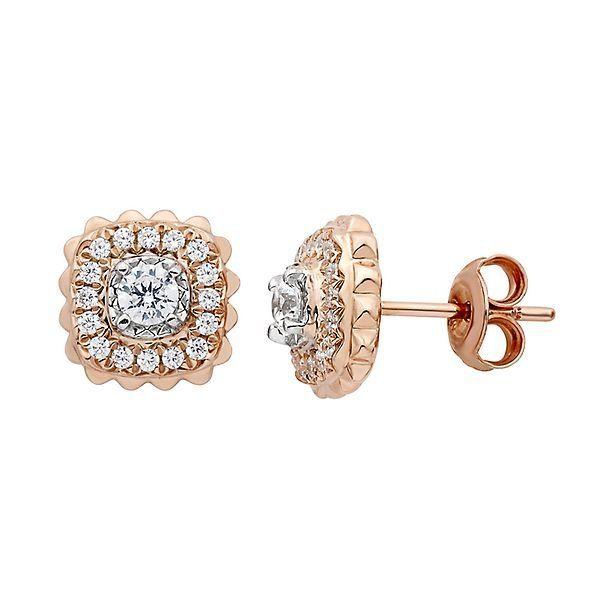 1 2 Ct Tw Diamond Illusion Stud Earrings In 10k Rose Gold 2291379 Helzberg Diamonds Wedding Earrings Studs Stud Earrings White Diamond Earrings