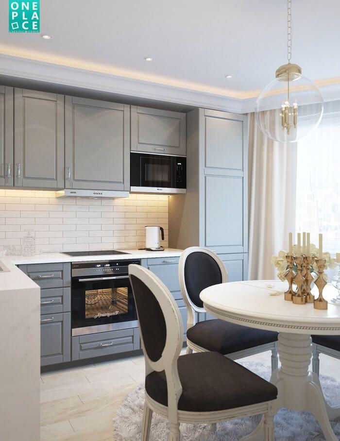 Проект небольшой, но очень светлой и красивой кухни в неоклассическом стиле от от краснодарской дизайн-студии OnePlace.