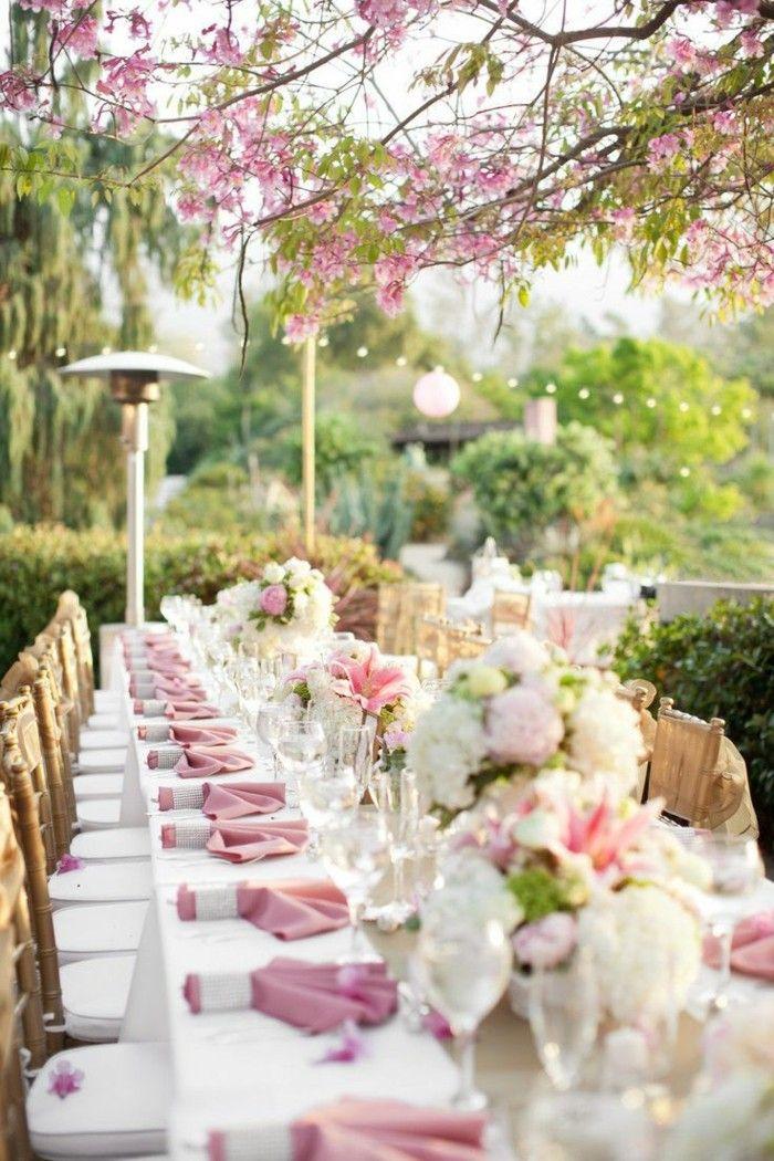 gartenparty gartenhochzeit mit festlicher tischdeko in rosa,