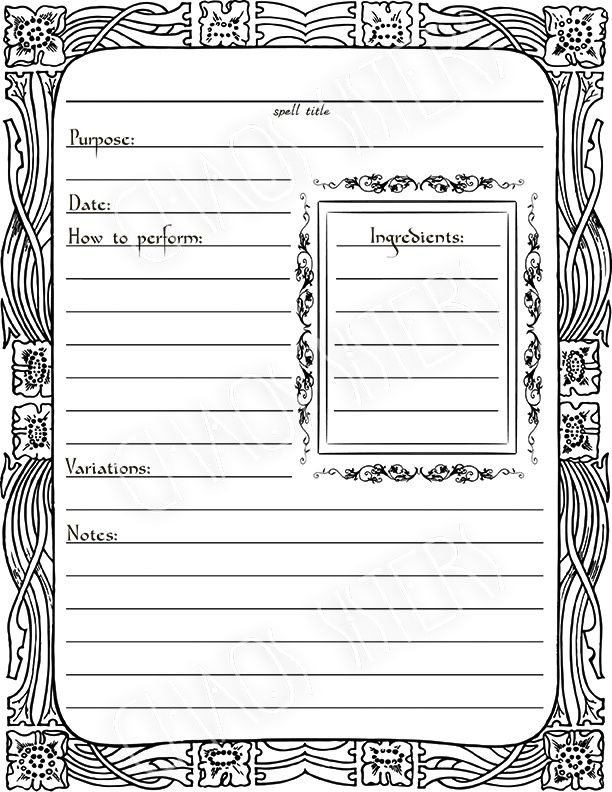 Witchcraft Spells Template Printable Diy Wicca Magic Book Of Shadows Wiccan Spell Book Witch Books