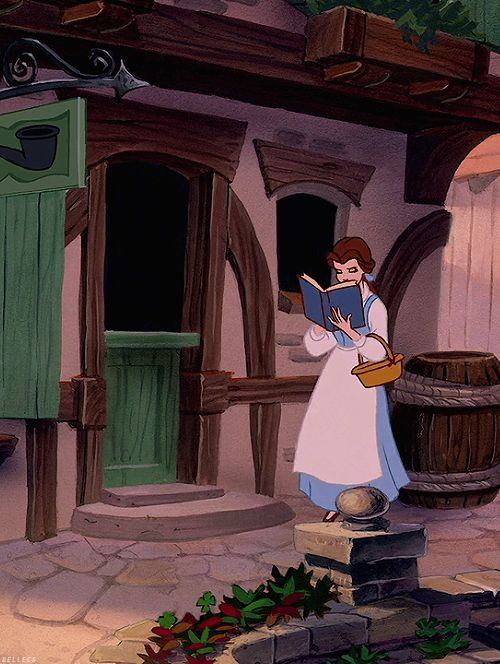 belle, nose in a book