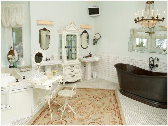 Banheiro vintage charmoso e romântico Bath Pinterest Bath - shabby chic badezimmer