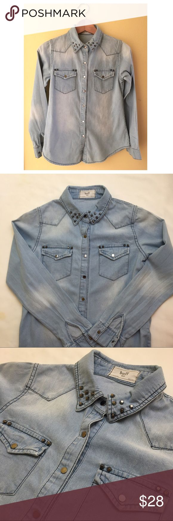 Light Denim Button-Down Shirt Has metal buttons and studs on the collar. Tops Button Down Shirts