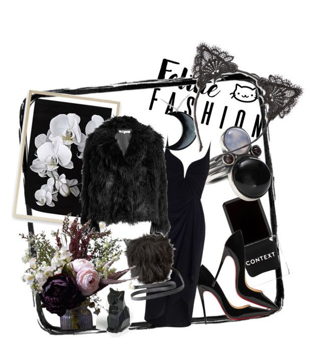 """Black kitty"" by bernadett-soos on Polyvore featuring Context, PyroPet, Christian Louboutin, Bottega Veneta, Zimmermann, Charlotte Russe, McQ by Alexander McQueen, Abigail Ahern, Curiology and True Craft"